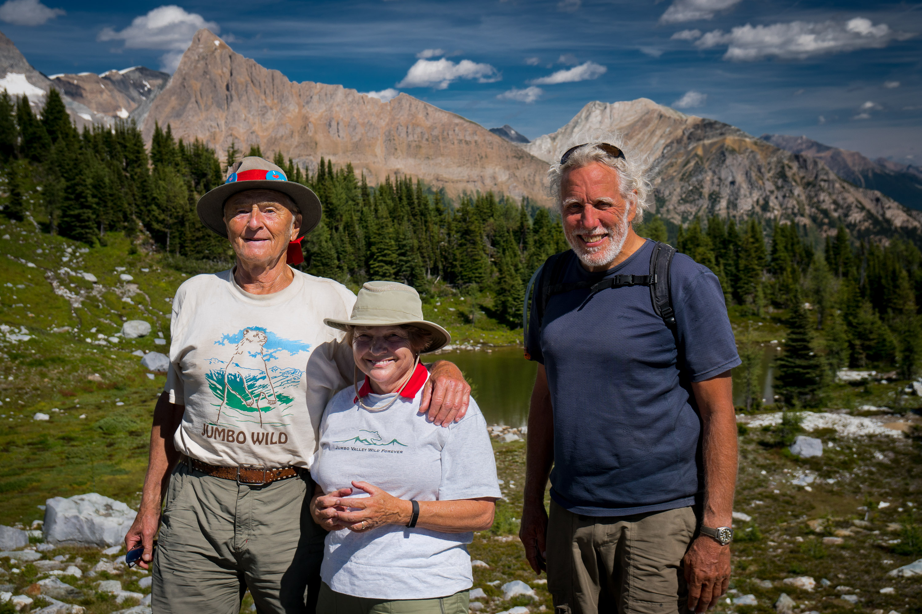 Bob and Lorraine Campsall, and John Bergenske, 2016 East-West hike to Jumbo Pass, (in Qatmuk, sacred valley of the grizzly bear spirit) by members of Wildsight, Jumbo Creek Conservation Society, Ktunaxa Nation and Keep Jumbo Wild supporters from both East and West Kootenays.