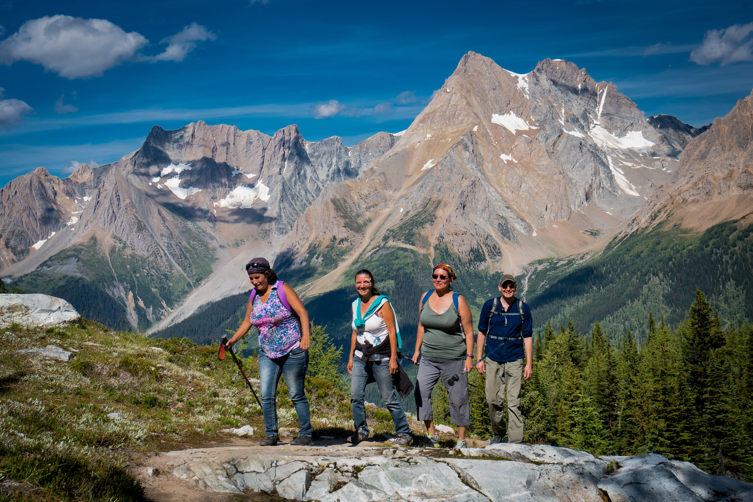 Lily Joseph, Glinda Joseph, Michele A. Sam and Joe Pierre on 2016 East-West hike to Jumbo Pass, (in Qatmuk, sacred valley of the grizzly bear spirit) by members of Wildsight, Jumbo Creek Conservation Society, Ktunaxa Nation and Keep Jumbo Wild supporters from both East and West Kootenays.